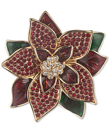 Anne Klein Gold-Tone Imitation Pearl & Crystal Poinsettia Pin, Created for Macy's