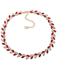 "Anne Klein Multi-Stone Vine-Inspired Statement Necklace, 16"" + 3"" extender, Created for Macy's"