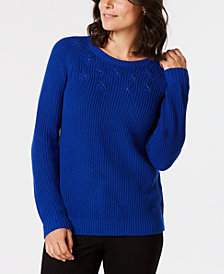 Karen Scott Embroidered Stud-Embellished Sweater, Created for Macy's