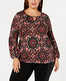 NY Collection Plus Size Printed Keyhole Top