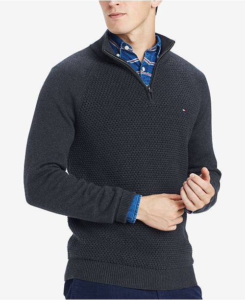 Tommy Hilfiger Mens Big Tall Quarter Zip Sweater Created For