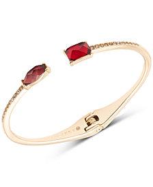 Anne Klein Gold-Tone Stone Hinged Bangle Bracelet