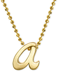 "Alex Woo Scripted Initial 16"" Pendant Necklace in 14k Gold"