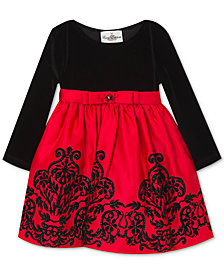 Rare Editions Baby Girls Flocked Velvet Dress