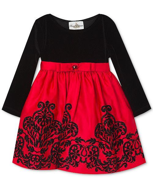 440b5ef8d Rare Editions Baby Girls Flocked Velvet Dress   Reviews - Dresses ...
