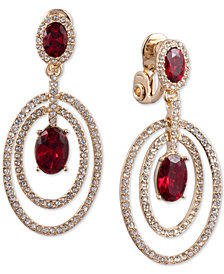 Anne Klein Gold-Tone Stone and Crystal Double Halo E-Z Comfort Clip-On Drop Earrings