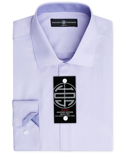 Society of Threads Men's Slim-Fit Non-Iron Stretch Solid Dress Shirt