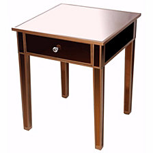 Mirrored Side Table with Drawer, Brown
