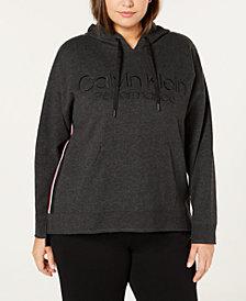 Calvin Klein Performance Plus Size Logo Fleece High-Low Hem Hoodie