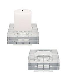 Square Windowpane Crystal Candleholders - Large. Set Of 2