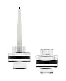 Round Crystal Tuxedo Pedalstal Candleholders - Set Of 2
