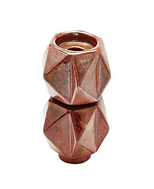 Small Ceramic Star Candle Holders - Russett. Set of 2