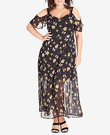 City Chic Trendy Plus Size Sheer Floral-Print Maxi Dress