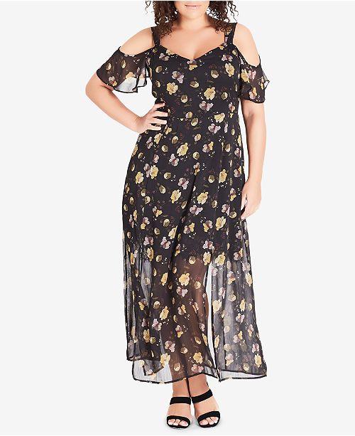 City Chic Trendy Plus Size Sheer Floral-Print Maxi Dress ...