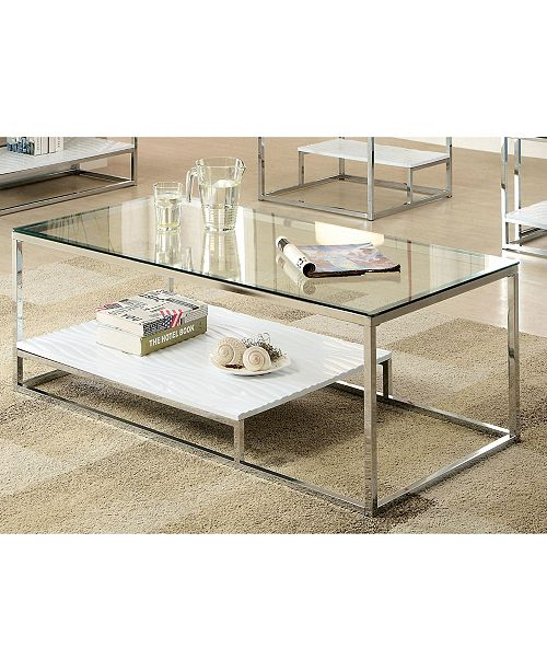 Furniture of America Nadia Glass Top Coffee Table