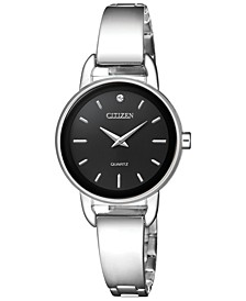Women's Quartz Stainless Steel Half-Bangle Bracelet Watch 26mm