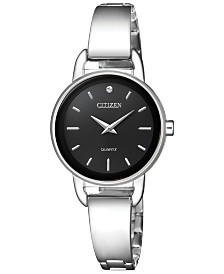 Citizen Women's Quartz Stainless Steel Half-Bangle Bracelet Watch 26mm