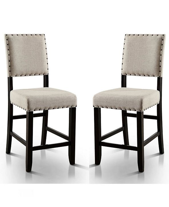 Furniture of America Langly Upholstered Pub Chair (Set of 2)