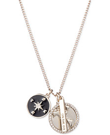 """DKNY Gold-Tone Triple Charm Crystal """"On the Go"""" Pendant Necklace, 16"""" + 3"""" extender, Created for Macy's"""