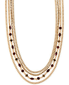 "DKNY Gold-Tone Pavé & Stone Multi-Row Collar Necklace, 16"" + 3"" extender, Created for Macy's"