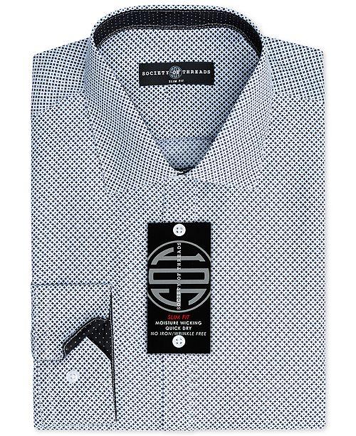 Society of Threads Men's Slim-Fit Non-Iron Performance Pattern Dress Shirt