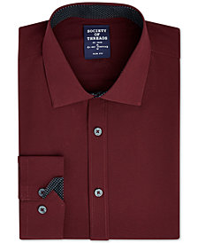 Society of Threads Men's Slim-Fit 4-Way Stretch Solid Dress Shirt