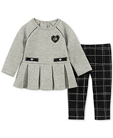 Calvin Klein Baby Girls 2-Pc. Pleated-Hem Tunic & Plaid Leggings Set