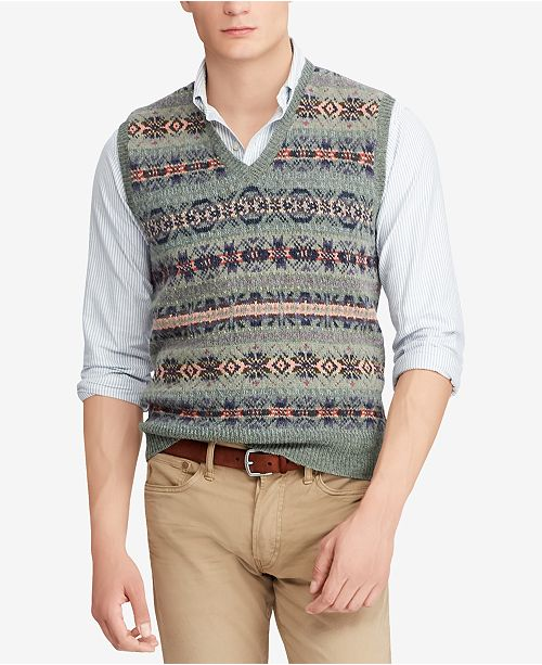 9bda9da52eb9 Polo Ralph Lauren Men s Fair Isle Vest   Reviews - Sweaters - Men ...