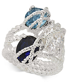 Charter Club Silver-Tone Blue Crystal Wrap Ring, Created for Macy's