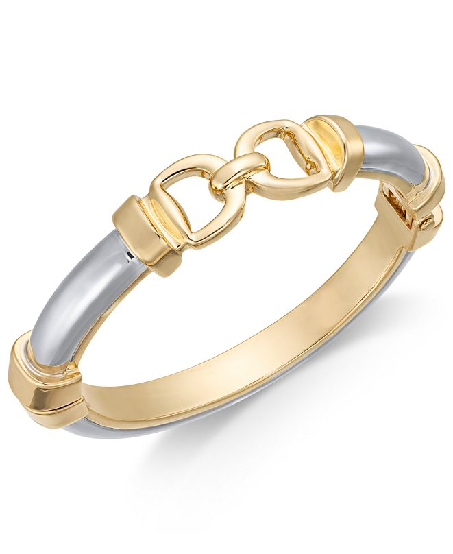 Charter Club Two-Tone Horesebit Bangle Bracelet, Created for Macy's