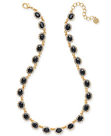 "Charter Club Gold-Tone Crystal & Oval Stone Collar Necklace, 17"" + 2' extender, Created for Macy's"