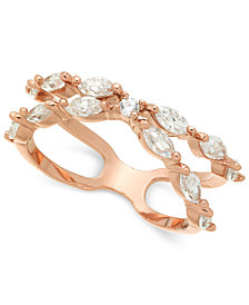Charter Club Rose Gold-Tone Crystal X-Band Ring, Created for Macy's