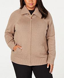 Karen Scott Plus Size Wing-Collar Zip Cardigan, Created for Macy's