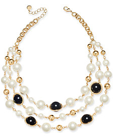 "Charter Club Gold-Tone Pavé, Imitation Pearl & Bead Triple-Row Statement Necklace, 17"" + 2"" extender, Created for Macy's"