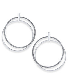 "Thalia Sodi Large Pavé Double Hoop Drop Earrings, 2"", Created for Macy's"