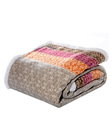 Fair Isle Stripe Sherpa Throw