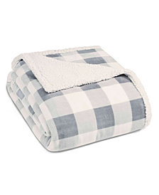 Eddie Bauer Mountain Plaid Chrome Sherpa Twin Blanket