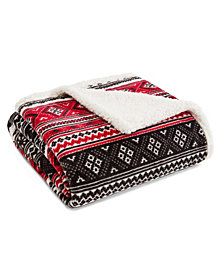 Eddie Bauer Classic Fair Isle Black Ultra Plush Fleece Sherpa Throw