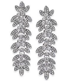 Silver-Tone Crystal Pavé Leaf Drop Earrings, Created for Macy's