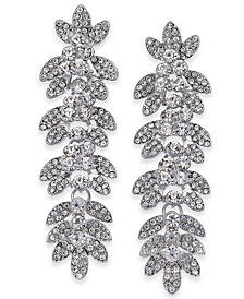 Thalia Sodi Silver-Tone Crystal Pavé Leaf Drop Earrings, Created for Macy's