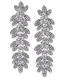 Thalia Sodi Silver-Tone Crystal Pavé Leaf Drop Earrings, Created for Macy's