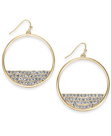 Thalia Sodi Gold-Tone Pavé Half-Moon Circle Drop Earrings, Created for Macy's