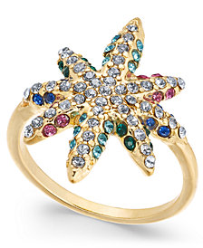 I.N.C. Gold-Tone Multicolor Crystal Star Ring, Created for Macy's