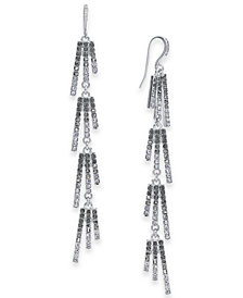 I.N.C. Silver-Tone Ombré Crystal Linear Drop Earrings, Created for Macy's