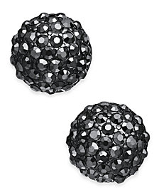 I.N.C. Hematite-Tone Black Crystal Ball Stud Earrings, Created for Macy's