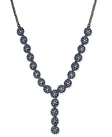 "I.N.C. Jet-Tone & Blue Crystal Flower Y Necklace, 23"" + 3"" extender, Created for Macy's"