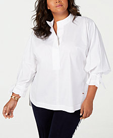 Tommy Hilfiger Plus Size Tie-Sleeve Blouse, Created for Macy's