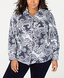 Tommy Hilfiger Plus Size Tyler Paisley Shirt, Created for Macy's