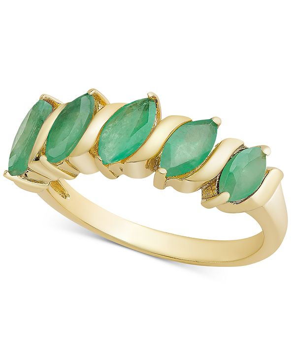Macy's Multi-Gemstone Marquise Band (1-1/10 ct. t.w.) in 18k Gold-Plated Sterling Silver (Also Available in Emerald, Ruby or Sapphire)