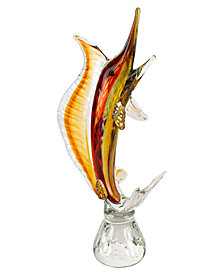 Badash Crystal Firestorm Marlin Art Glass Sculpture
